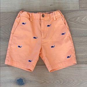 Vineyard vines boys whale shorts orange size 6